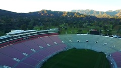 Aerial Drone Footage of the Rose Bowl Stock Footage