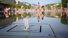 Jet of water in a fountain in a public park at the Massena square in Nice, .. Stock Footage
