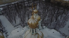Aerial View: Flight above St. Nicholas Naval Cathedral in snowy day, SPb Stock Footage