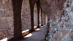 Sea views through the arches of the castle of Mandelieu-la Napoule near Can.. Stock Footage
