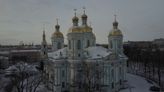 Aerial View: St. Nicholas Naval Cathedral panorama in snow, St.Petersburg,Russia Stock Footage