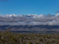 4K Cine Catalina mountains between the winter storms Stock Footage