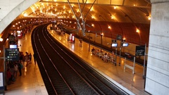 Tunnel with lots of lights in railway station Gare de Monaco-Monte-Carlo Stock Footage