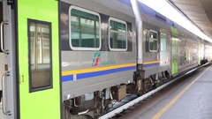 Train of Trenitalia company on the platform of Genova Brignole railway station Stock Footage