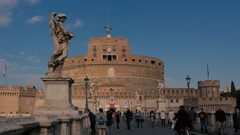 Rome, Castel Sant'Angelo, guests walk the streets Stock Footage