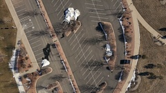 Aerial view of empty parking lot in suburban park in Parker, Colorado. Stock Footage