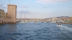 Movement along the Fort Saint-Jean to the old port of Marseille, France Stock Footage