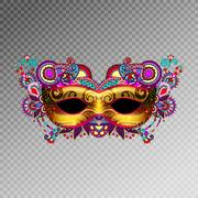 3d gold venetian carnival mask silhouette with ornamental feathe Stock Illustration