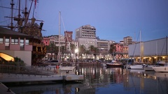 The small harbor with yachts and boats and copy of Spanish ship Stock Footage