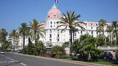 The famous luxury hotel Negresco in the neoclassical style on the promenade.. Stock Footage