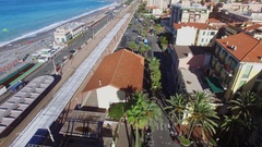 Bordighera, Italy,Railroad station and Freedom Heroes Square Stock Footage