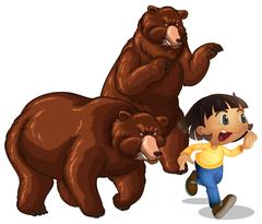 Girl running away from grizzly bears Stock Illustration