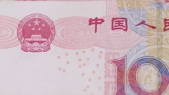 Dolly close up on Chinese 100 yuan renminbi currency bill money Stock Footage