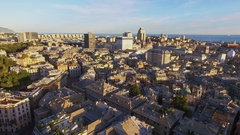 Genoa, Italy, Cityscape with East center, historical center Stock Footage