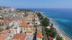 Bordighera, Italy,Cityscape with church of Holy Land among houses Stock Footage