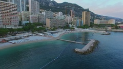 Sea bay near Larvotto beach and residences LEstoril, Le Bahia and hotel Stock Footage