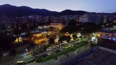 Townscape with railroad station and Saitta Dancing club on beach Stock Footage