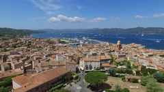Saint Tropez, France, Cityscape with Vieux port and many vessels sail Stock Footage