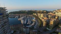 Monte Carlo, Monaco,Townscape with La Condamine quarter and Port Hercule Stock Footage