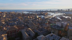 Genoa, Italy, Townscape with historical center and sea port Stock Footage