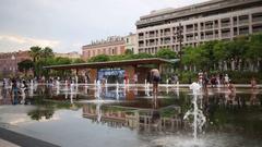 Fountain at Massena Square (Place Massena) in park at Promenade du Paillon Stock Footage