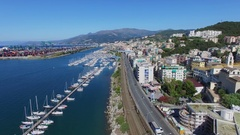 Genoa, Italy, cityscape with transport traffic on State Route 1 Stock Footage