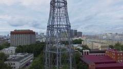 Cityscape with Shukhov TV Tower and telecentre at summer Stock Footage
