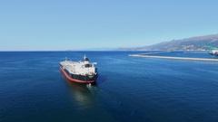 Absheron oil tanker of Palmali company sails in sea near dam Stock Footage