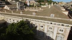 Palace Doria-Tursi on Giuseppe Garibaldi street at summer day Stock Footage