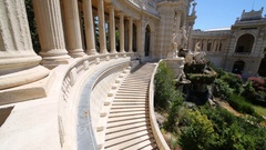Colonnade, staircase and statues in the Longchamp Palace in Marseille, France Stock Footage