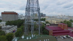 Telecentre with Shukhov TV Tower against cityscape at summer Stock Footage