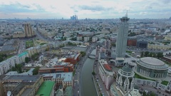 Cityscape with Riverside Towers business center, street with traffic. Stock Footage