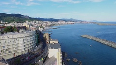 Genoa, Italy, city traffic on State Route 1 and Port of Genova Stock Footage