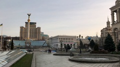 Kiev Maidan Independence Square, Monument to Post Office Stock Footage
