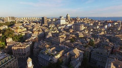 Genoa, Italy, Townscape with historical center, East center and sea Stock Footage