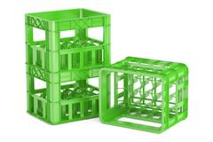 Empty green plastic storage boxes, crates for bottles. 3D rendering Stock Illustration