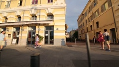 Movement on the quay Rive Neuve Stock Footage