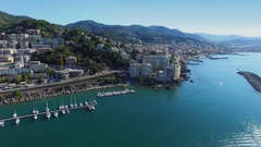 Genoa, Italy, townscape with transport traffic on State Route 1 Stock Footage