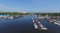 Many vessels are on moorage in yacht clubs Aurora and Vodnik Stock Footage
