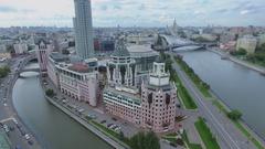 Cityscape with transport traffic on Bolshoy Krasnokholmsky bridge Stock Footage
