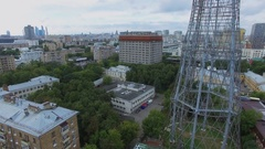 Townscape with Shukhov TV Tower and telecentre at summer Stock Footage