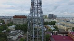 Town panorama with Shukhov TV Tower and telecentre at summer Stock Footage