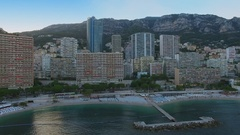 Cityscape with Larvotto beach near residences LEstoril and Le Formentor Stock Footage