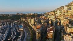 Monte Carlo, Monaco,Cityscape with La Condamine quarter and Port Hercule Stock Footage