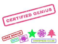Certified Genius Rubber Stamp Stock Illustration