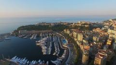 Monte Carlo, Monaco,Cityscape with Port Hercule, Monaco-Ville commune Stock Footage