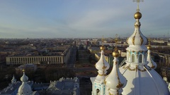 Aerial: Smolny Cathedral cityscape and Convent of the Resurrection from above Stock Footage