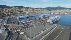 Townscape and Passengers Port with many cars and ferryboats on moorage Stock Footage