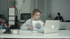 Young female employee presenting pie chart via laptop online meeting Stock Footage