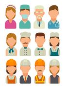 Set icon character builder. Vector flat illustration Stock Illustration
